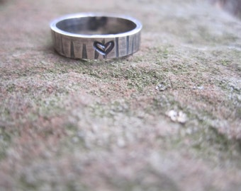 Tree Bark Stack Ring with carved/stamped heart