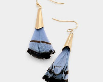 Blue Layered Feather Earrings