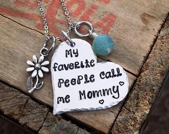 My Favorite People Call me Mommy, Mamaw, Nana, Mimi, Nanny, Grandma, Mom, Memom, Birthstone Jewelry, Grandmothers Necklace, Personalized