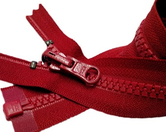 """Two YKK Jacket Zippers- YKK Molded Plastic Medium Weight Separating with Reversible Slide Color 519 Hot Red One 14"""" and  one 15"""""""