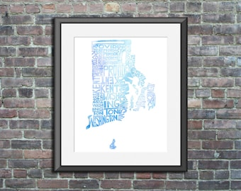 Rhode Island watercolor typography map art unframed print state poster wedding engagement graduation gift anniversary wall decor beach house