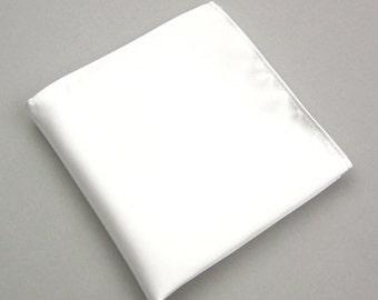 White Pocket Squares.Mens Pocket Square.White Silk Handkerchief.Wedding Pocket Squares.