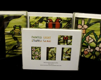 Rainforest Note Cards Boxed Set Stained Glass Images Blank Greeting Cards