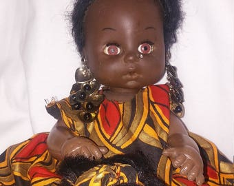 Antique African Mom and Daughter Dolls with Handwoven African Cloth