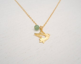 Gold dove necklace, Flying bird necklace, Gold and green aventurine necklace