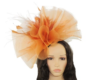 Orange Margarita Fascinator Hat for Weddings, Occasions and Parties on a Headband