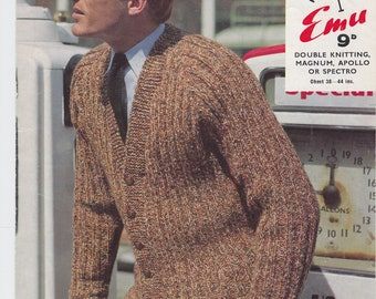 "Men's Jacket PDF knitting pattern cardigan  1960s double knitting 38""-44"" chest"