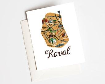 "Greeting Card, postcard card ""El Raval"" Barcelona"