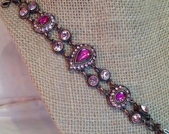 Pink Dichroic Glass Bracelet