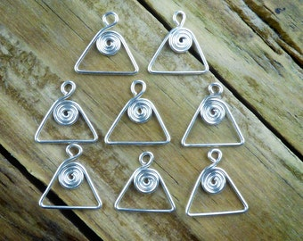 Silver spiral in triangle charms or dangles, 8pcs, silver plated hand crafted jewelry findings, triangle earring components, more available.