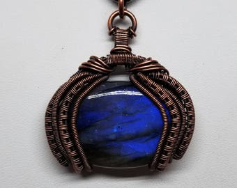 Wire Wrapped Pendant with Labradorite and Copper