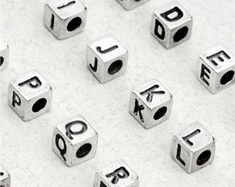 Small Sterling Silver Letter Cube Bead, 3.8 x 3.9mm, 925 Sterling Initials, Wholesale Silver Letters, USA Seller, Fast Shipping (S904)