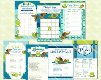 Frogs Snails and Puppy Dog Tails Baby Shower Games, Puppy Baby Shower Game, Baby Shower Games Printable for Boy, Snips Snails, Boy Game Pack