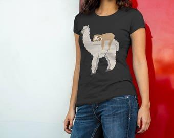 Cute & Funny Sleepy Sloth and Llama Women's Premium Short Sleeve T-Shirt - Cute Sloth Llama Shirt - Funny Sloth Llama Tee