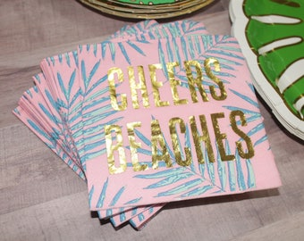 Cheers Beaches Palm print and gold foil Napkins