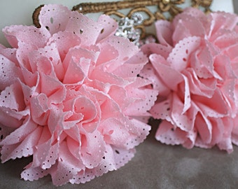 2 Baby Pink Eyelet Flower - Fabric Flower - Vintage Chiffon Flower - Lace rose - Wholesale flowers - Lace Flower - Eyelet Fabric Flower