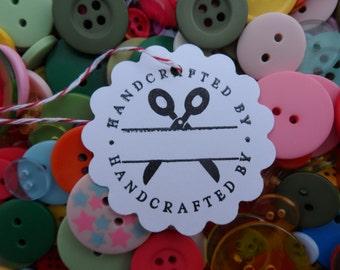 Handcrafted By Tag, Tag for Crafts, Tag for homemade items, Tags for your Shop