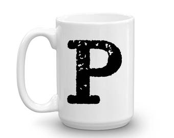 Initial Mug - Letter P - 15oz Ceramic Cup - Brother Gift Mug - Right-Handed or Left-Handed Mug