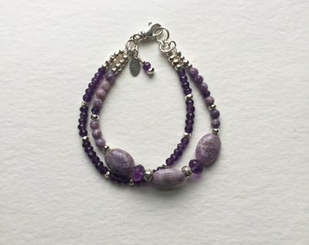 Sugalite, Amethyst, and Sterling Silver Bracelet