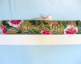 Hand Painted  Wood House Sign -Welcome-  English- Tropical theme- custom language