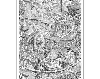 "The Gong Wizards - GIANT 27""x 40"" Wildergorn Colour-In Poster"