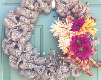Fall burlap wreath, Burlap wreath, Fall wreath