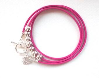 Lotus flower bracelet, wrap bracelet, friendship bracelet, leather bracelet, boho bracelet, wraparound bracelet, stocking filler