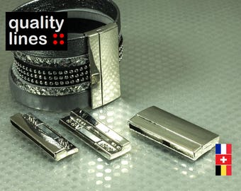 Silver magnetic clasp for leather flat hole 40mm / 2mm bracelet