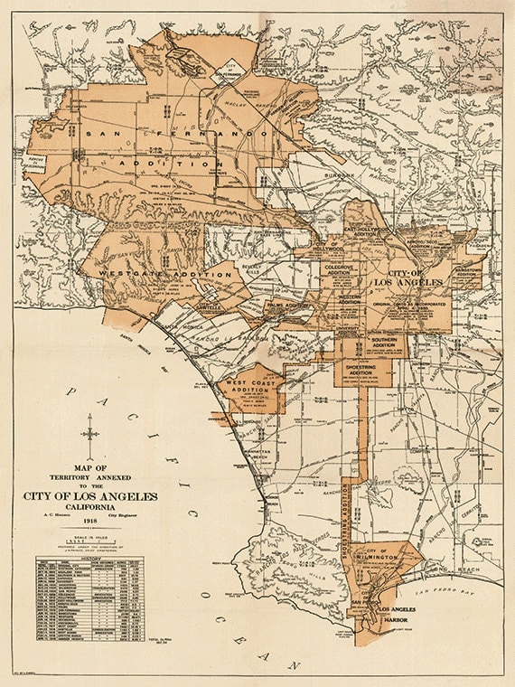 Los Angeles map print map vintage old maps Antique map poster