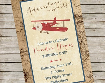 Airplane Map Invitation PIY file ~ Airplane Party Digital File ~ Adventure Printable ~ Vintage looking plane invite digital file