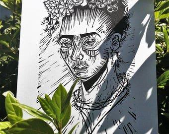 Linocut original Frida Kahlo print limited edition, linocut print.