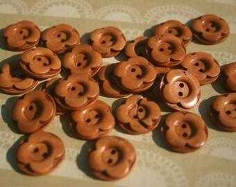 """Flower Wooden Buttons - Wood Flower Petals Button - 3/4"""" Wide"""