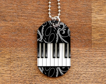 Piano Keyboard Tag Necklace for Musicians and Piano Players