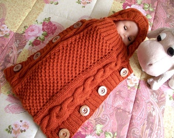 KNITTING PATTERN  Baby Cocoon - Sweet Snuggle Baby Cocoon pdf pattern Instant Download baby sleeping bag knit pattern