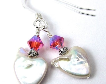 Heart Pearl Earrings with Indian Pink Swarovski Crystals, Sterling Silver Earrings, Valentine's Day, Free US Shipping