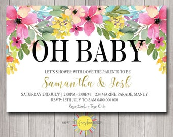 Printable Baby Shower invitation personalised Floral Flowers Brights Colours Neutral Girl Boy Modern Simple