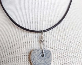 Maine Beach Pottery Shard Heart Necklace/Pendant/Cool Design/Sterling Wire Wrapped Leather/Jewelry/Urban Boho