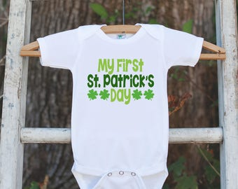 Baby's 1st St. Patricks Day Outfit - My First St. Patricks Day Onepiece or T-shirt for Girls or Boys - Infant, Newborn, Baby