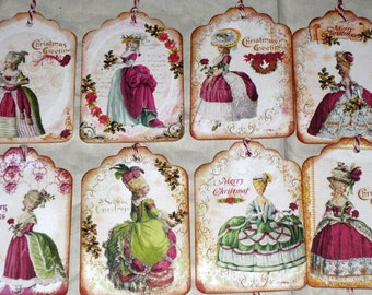 Vintage Gift Tags Marie Antoinette Christmas Gift Tags Assorted Set of 8