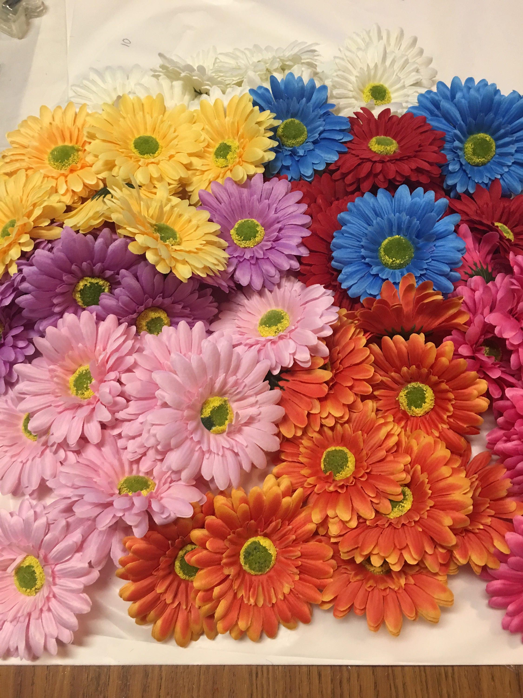 Qty 4 Gerbera daisy flower craft supplies unfinished backs, 4 inch ...
