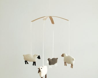 Recycled Wool Sheep Mobile