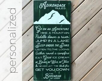 PERSONALIZED Summer Adirondack Rules Sign - Adirondack Decor - Mountain Decor - Cabin Decor - Lake Decor - Family Rules - Cabin Rules