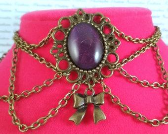 Handpainted purple stone and bronzechain choker necklace gothic victorian steampunk