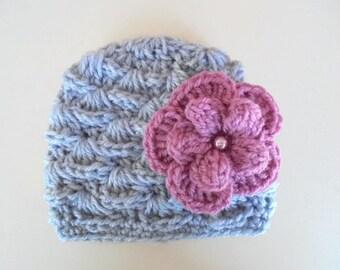 Crochet baby hat, newborn girl hat, baby girl beanie,  baby girl hat, baby newborn hat, baby hat, newborn crochet hat, gray baby hat