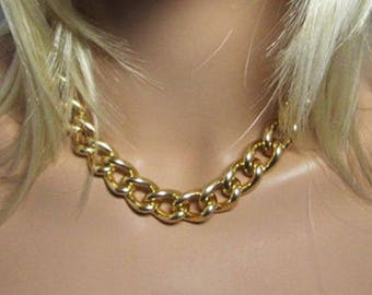 Chain Necklace, Big Chain Necklace, Gold, Gun Metal, Silver, Aluminum Chain Necklace