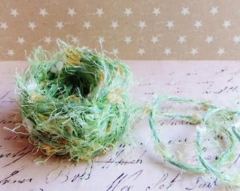 Buttercream Pistachio Green Confetti Twist novelty ribbon- fiber art european specialty trim scrapbook embellishment gift wrap supply