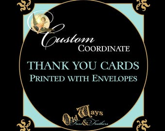 Coordinating or Matching Custom Printed Thank You Card - Folding Thank You Note Card  with Envelope