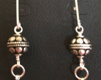 Bali silver and pearl dangles