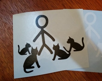 Cat Person Family Vinyl Decal for Car Windows and Laptops Cat Lady