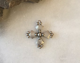SILVER Stud Cross / Cross Charm / Silver Cross / Silver Cross Charm / Silver Cross Pendant / Pewter Charm